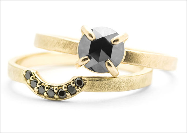 Interlocking Black Diamond Engagement Ring Set