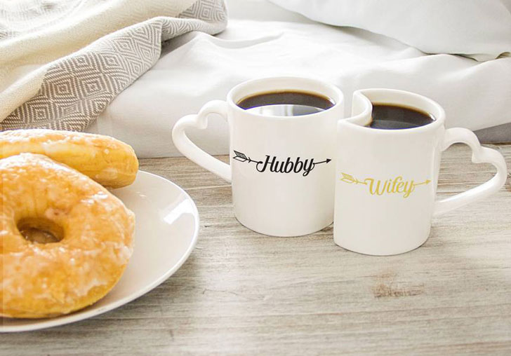 Interlocking Hubby & Wifey Couples Mug Set