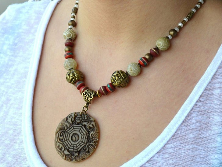 Jade Feng Shui Good Luck Tribal Necklace - good luck necklaces