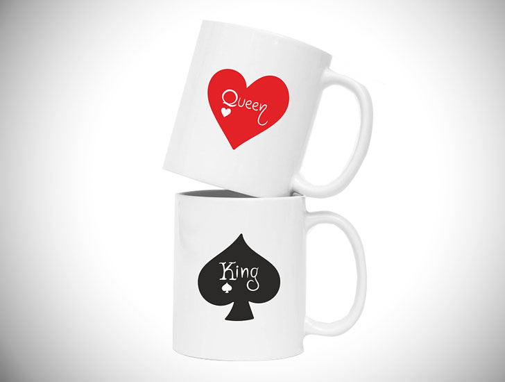 King Queen Heart and Spade Mug Set