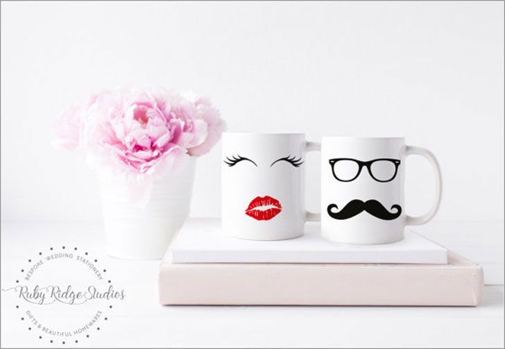 Lips and Moustache Couples Mugs