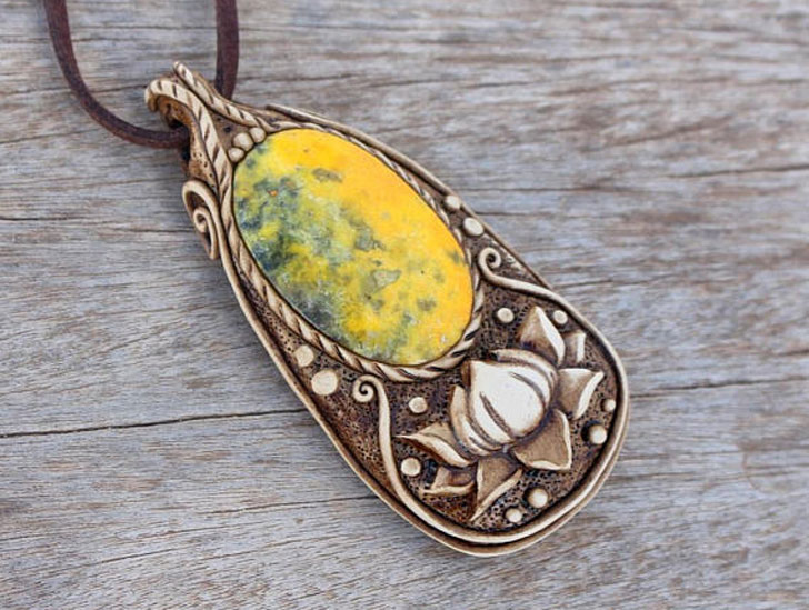 Lotus and Bumble Bee Good Luck Amulet - good luck necklaces