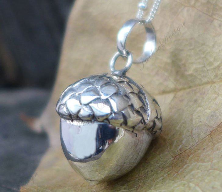 Lucky Sterling Silver Acorn Pendant - good luck necklaces