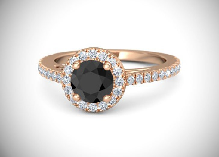 Matilda Round Cut Black Diamond Engagement Ring
