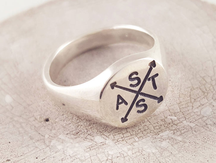 Mens Engraved Family Initials Signet Rings