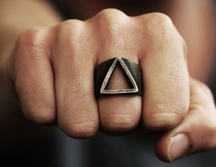 Mens Gold Triangle Ring