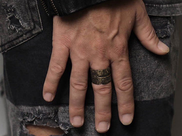 Mens Rustic Brass Feather Ring