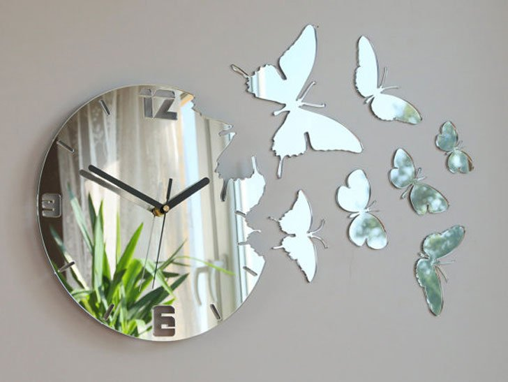 Mirror Butterfly Wall Clock
