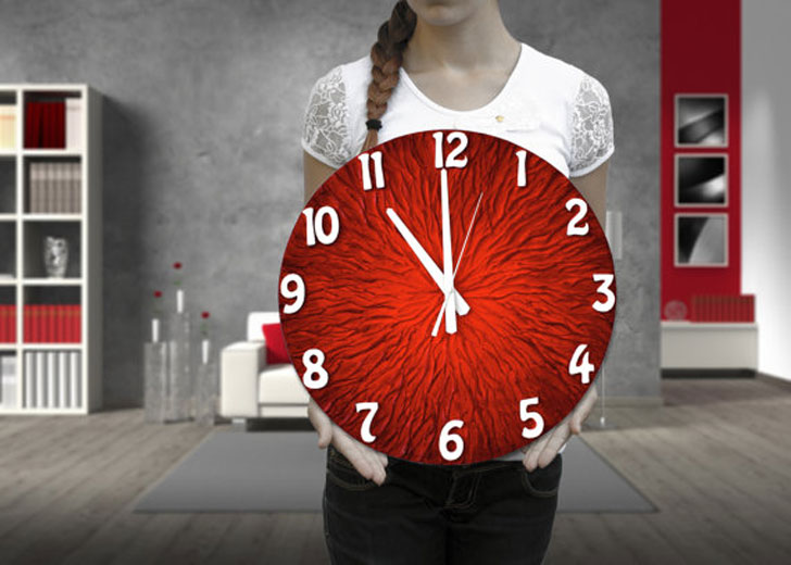 Modern AbStract Bright Red Wall Clock - unique wall clocks
