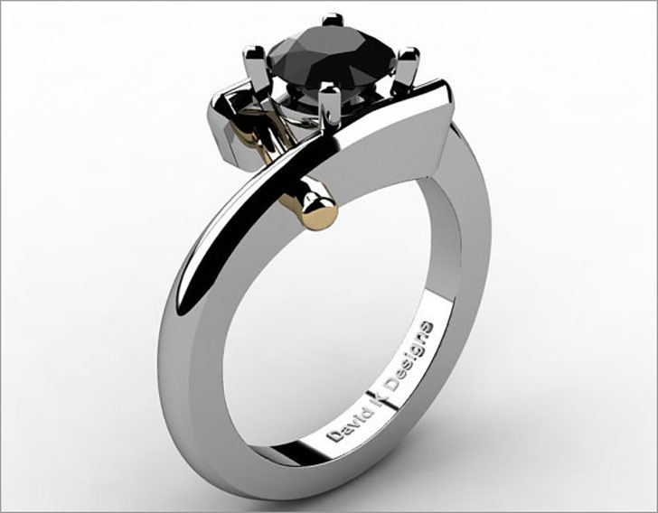 Modern French 14K Two Tone Engagement Ring