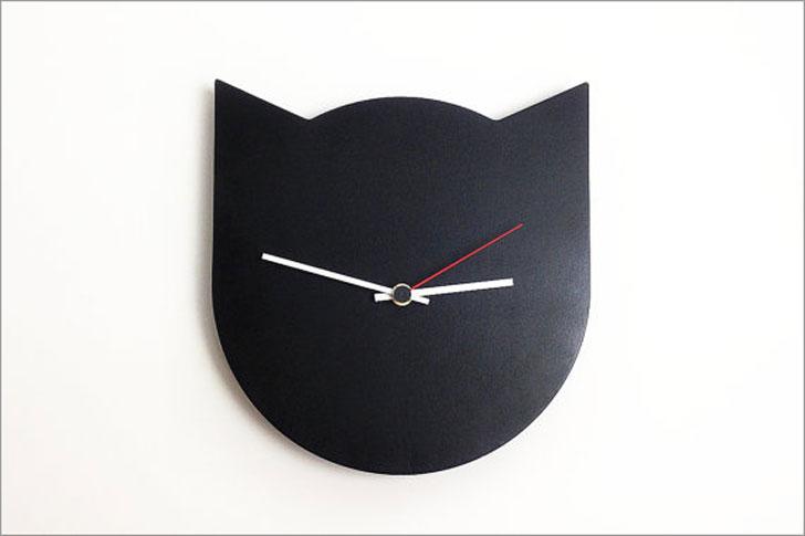 Modern Minimalist Black Cat Clock