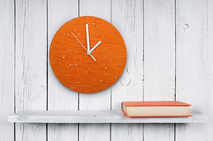 Modern Orange Wall Clock