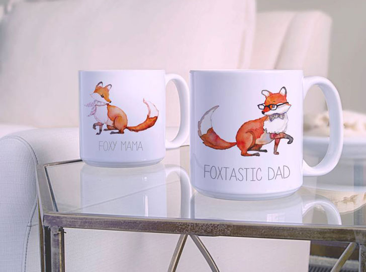 Mom & Dad Fox Set of 2 Coffee Mugs