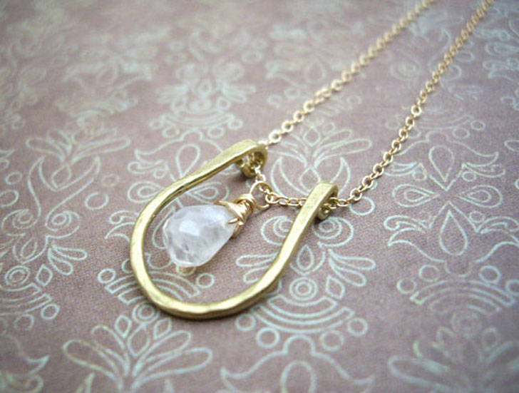 Moonstone Horseshoe Pendant