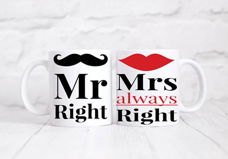 Mr Right and Mrs Always Rights Couples Mugs