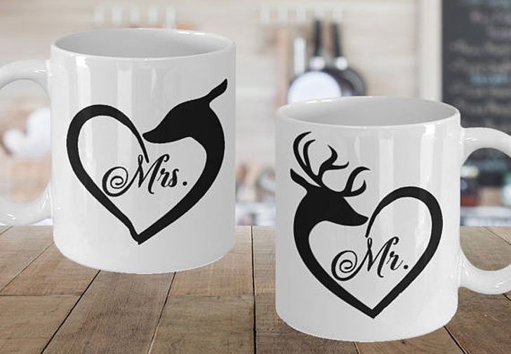 Mr and Mrs Heart Buck And Doe Mugs