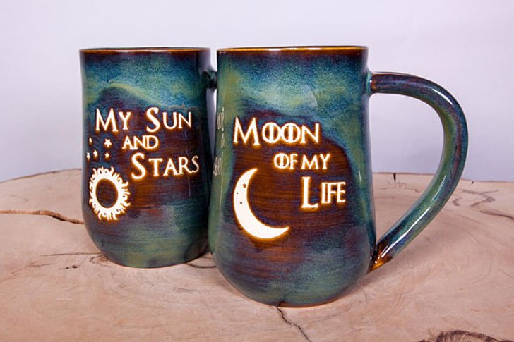 My Sun and Stars and Moon of My Life Handmade Pottery Couples Coffee Mugs