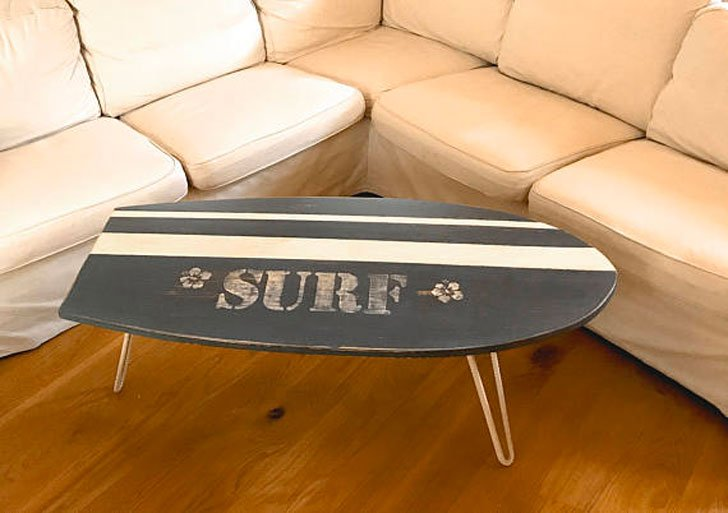 NJdesignco Retro Surfboard Coffee Table