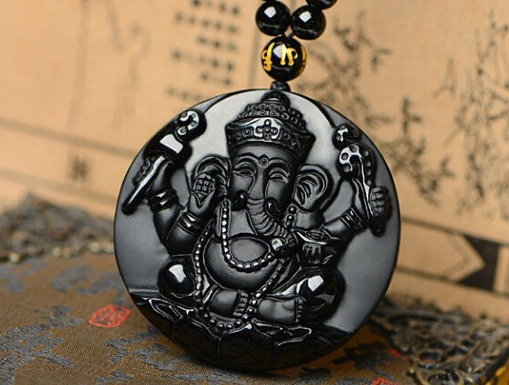 Natural Obsidian Stone Elephant Good Luck Pendant Necklace - good luck necklaces