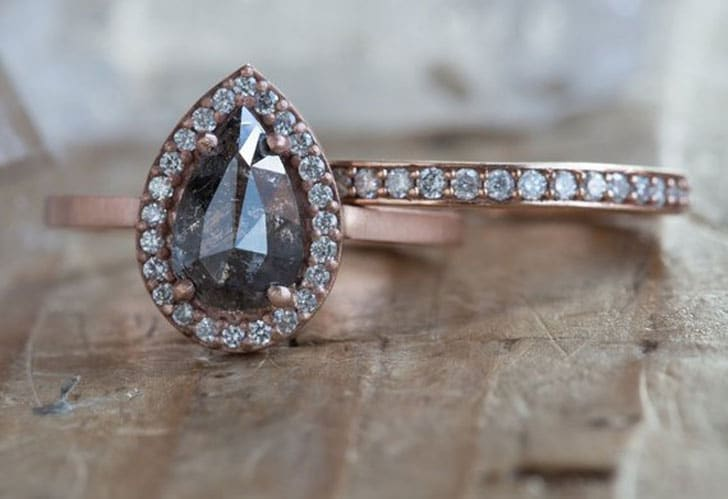 Natural Rose Cut Black + White Diamond Engagement Ring with Pave Halo