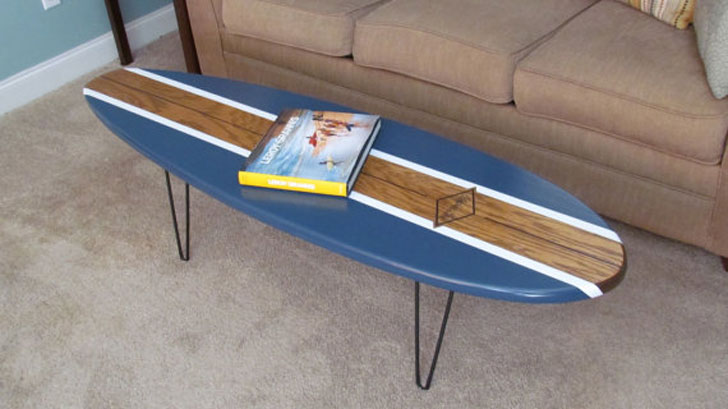 Natural Wood and Navy Blue Surfboard Coffee Table - Surfboard Coffee Tables