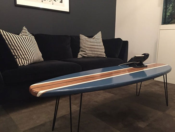 Natural Wood and Navy Blue Surfboard Coffee Table