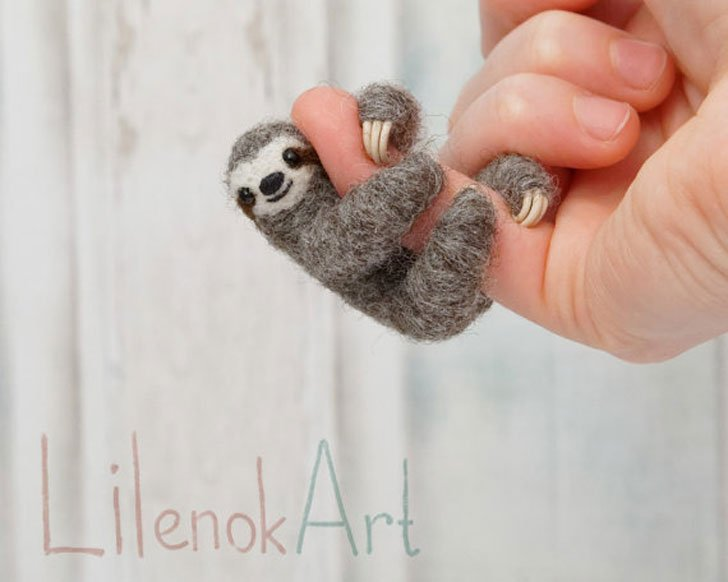 Needle Felted Sloth Necklace