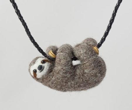 Needle Felted Sloth Necklace