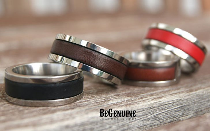 Personalised Leather and Stainless Steel Mens Ring