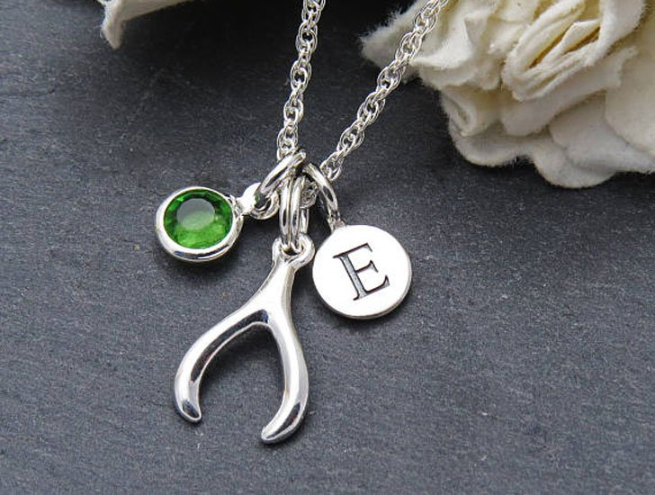 Personalised Sterling Silver Wishbone Good Luck Pendants - good luck necklaces