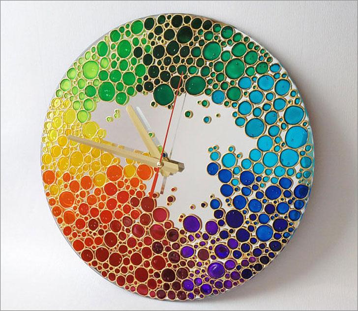 Rainbow Bubbles Mirror Wall Clock - unique wall clocks