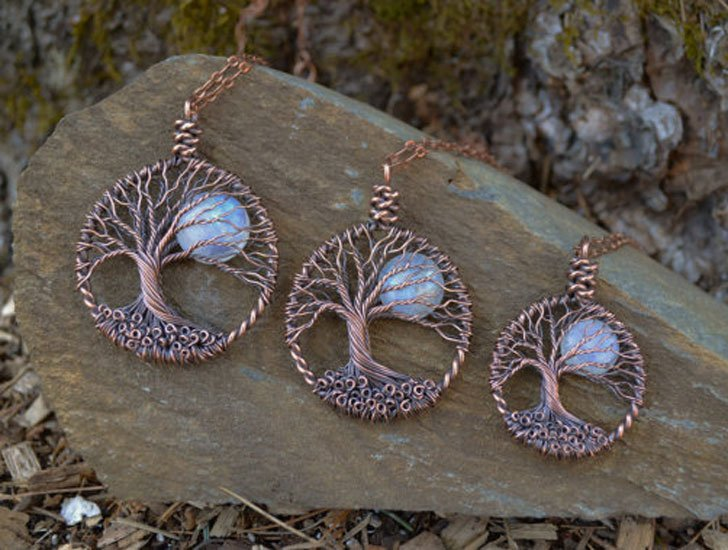 Rainbow Moonstone Tree Of Life Necklaces