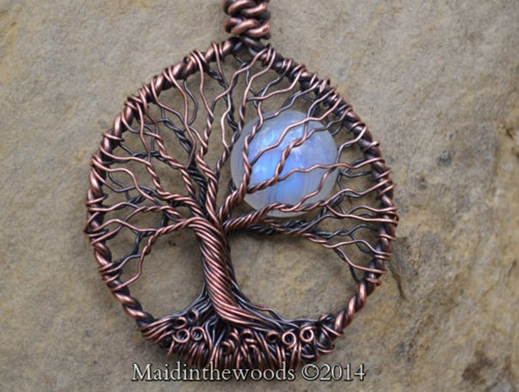 Rainbow Moonstone Tree Of Life Necklaces - good luck necklaces