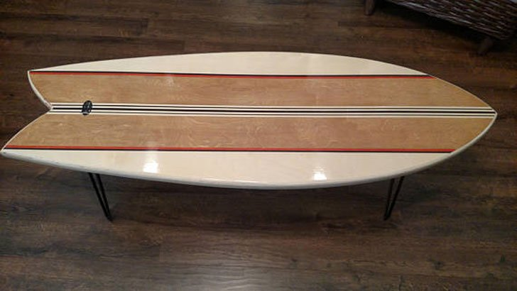 Retro Fish Surfboard Coffee Table