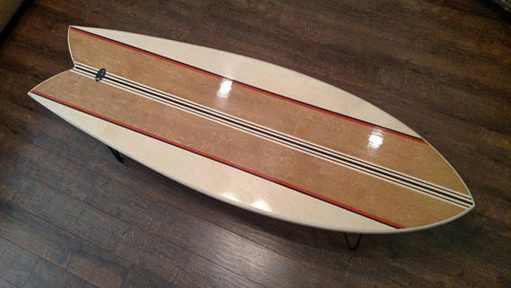 Retro Fish Surfboard Coffee Table