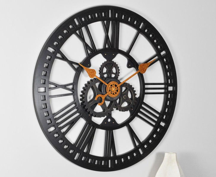 Roman Gear Wall Clock
