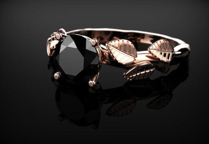 Rose Gold Black Diamond Gemstone Ring