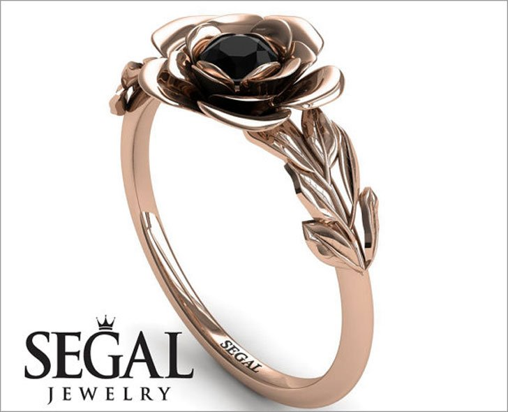 Rose Gold Flower Engagement Ring