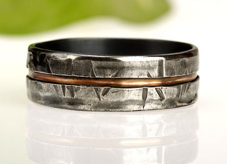 Rustic Silver and Copper Mens Ring