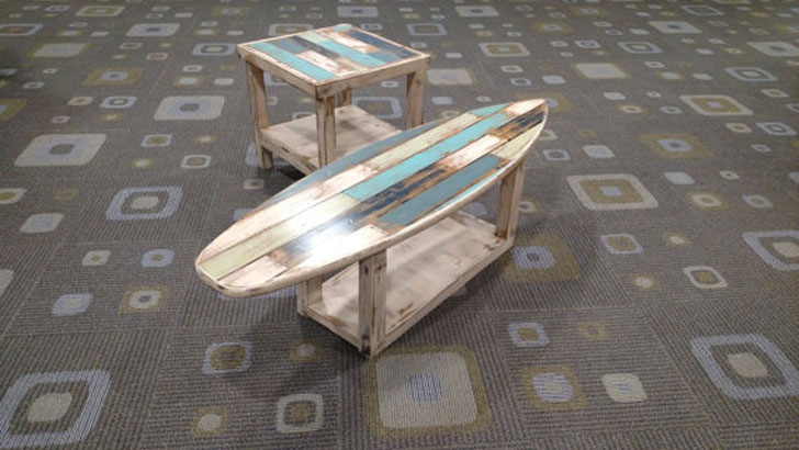 Rustic Weathered Surfboard Table with Optional Matching Side Tables