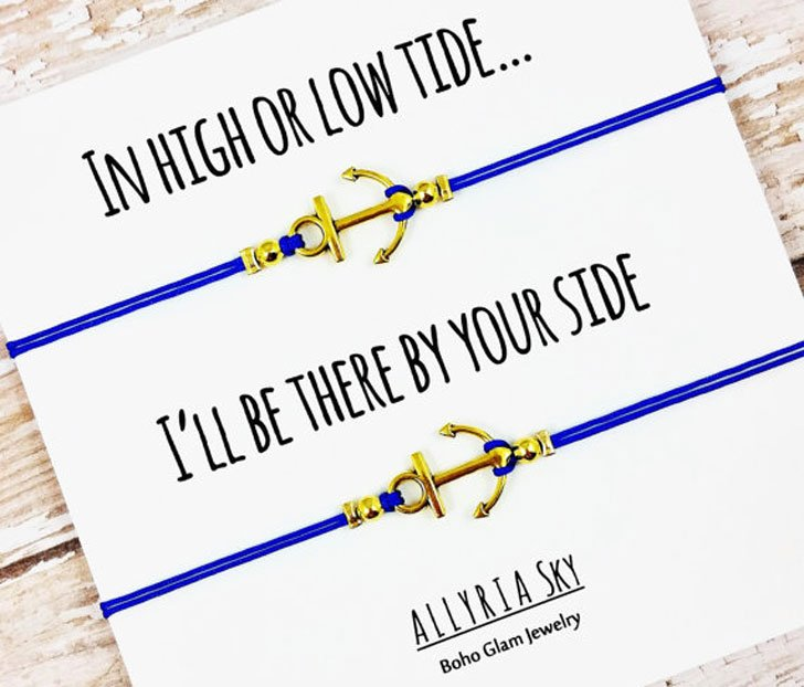 Set of Two Gold or Silver Anchor Friendship Bracelets