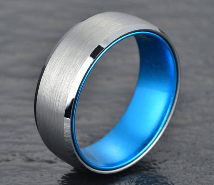 Silver Tungsten With Blue Anodised Aluminium Mens Ring