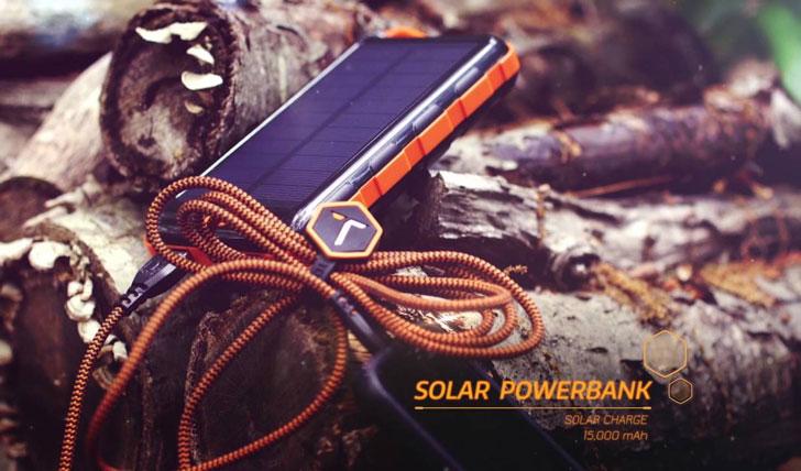 Solar Power Bank With Flashlight