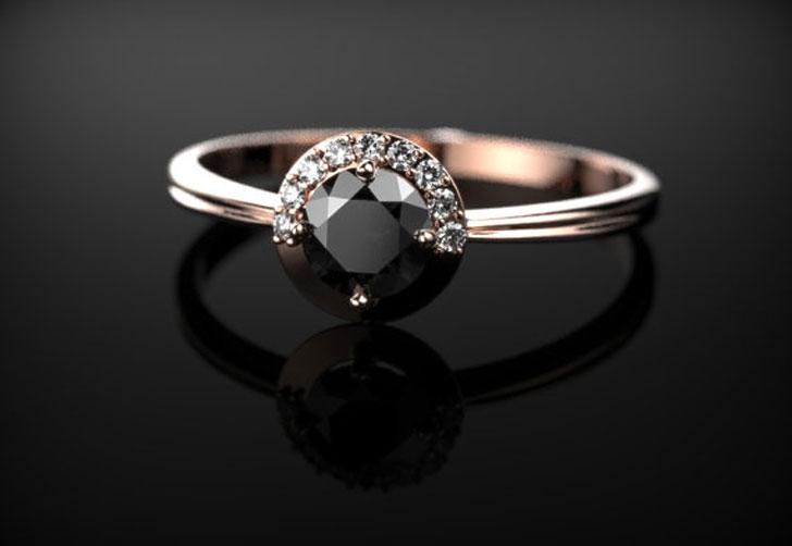 Solid Rose Gold Black Diamond Ring