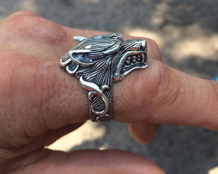 Solid Sterling Silver Wolf Rings - Unique Mens Rings