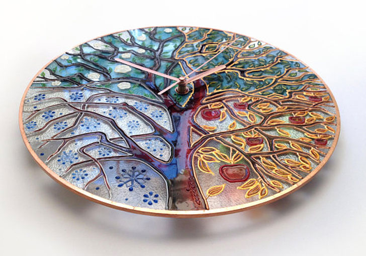 Stained Glass Tree of Life Wall Clock - unique wall clocks