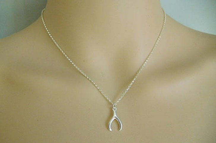 Sterling Silver Good Luck Charm Wishbone Necklace