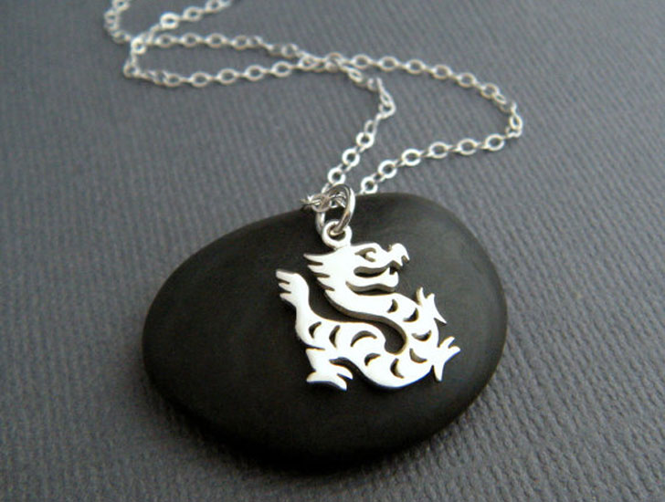 Sterling Silver Lucky Dragon Necklace - good luck necklaces