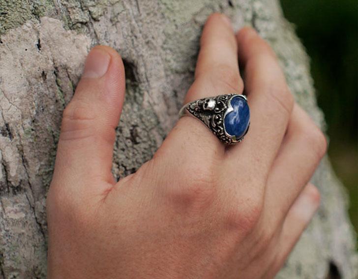 "Sterling Silver ""Elysium"" Skull Gemstone Ring - Unique Mens Rings"