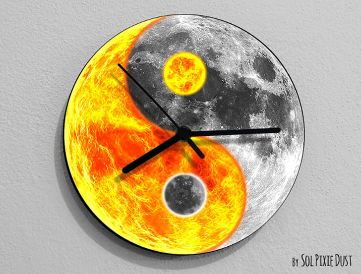 Sun and Moon Yin Yang Wall Clock - unique wall clocks